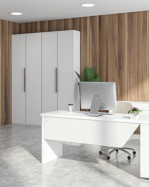 Biała szafa do biura