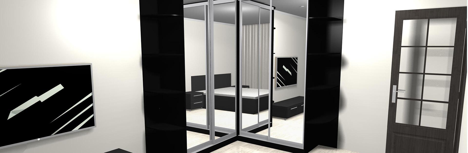 Czarna szafa narożna z drzwiami przesuwnymi i lustrami