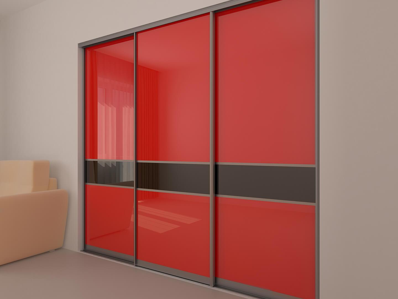 Szafa przesuwna z czerwonymi drzwiami przesuwnymi z czarnym paskiem