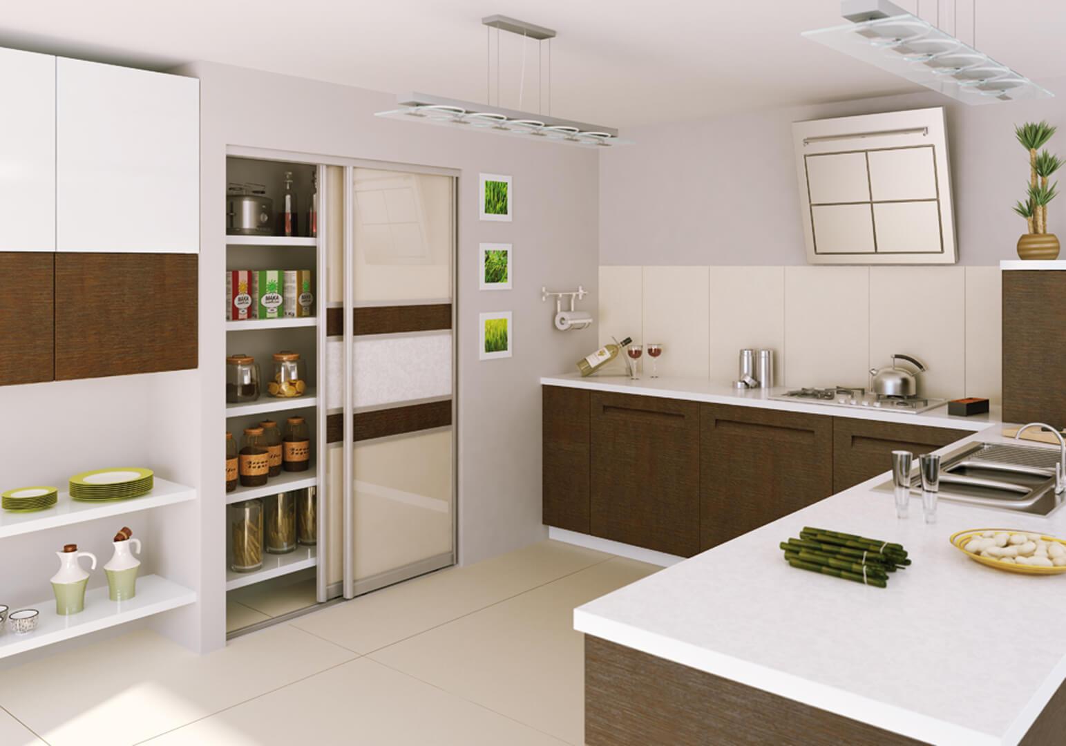 Zabudowa z drzwiami przesuwnymi do kuchni
