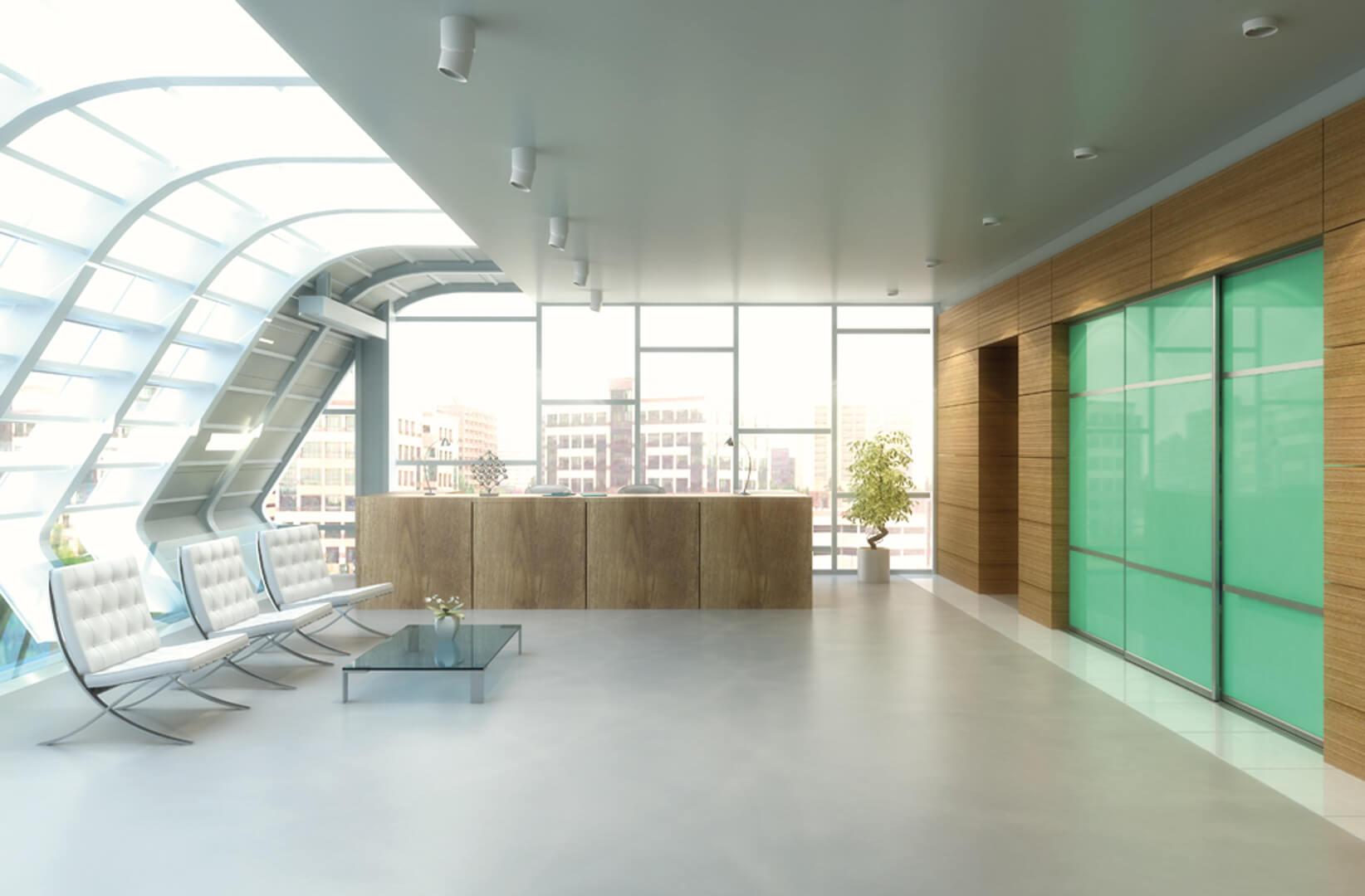 Nowoczesna szafa z zielonymi szklanymi drzwiami przesuwnymi