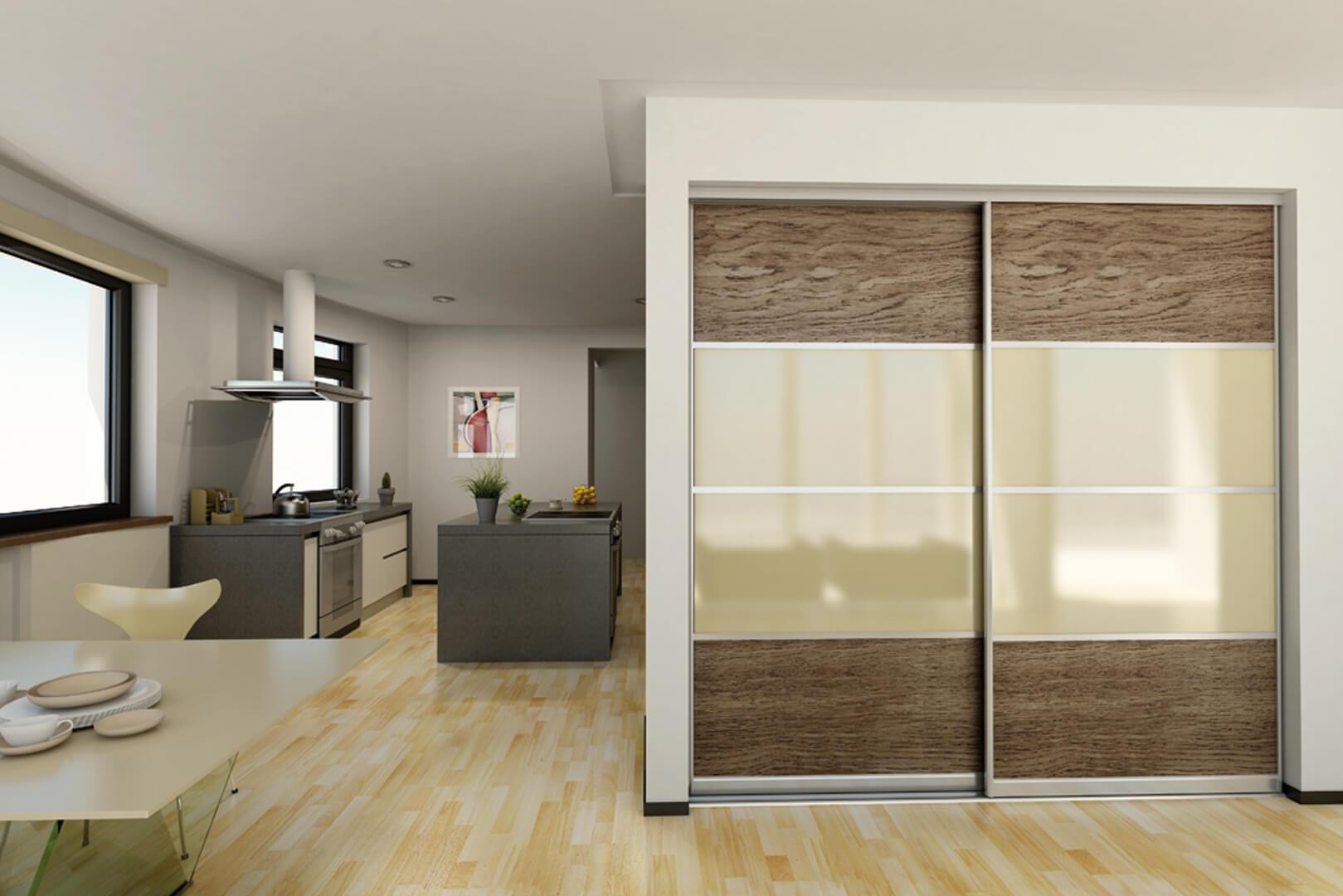 Ciemno-brązowe drzwi przesuwne z szklanymi wstawkami w kolorze beżowym