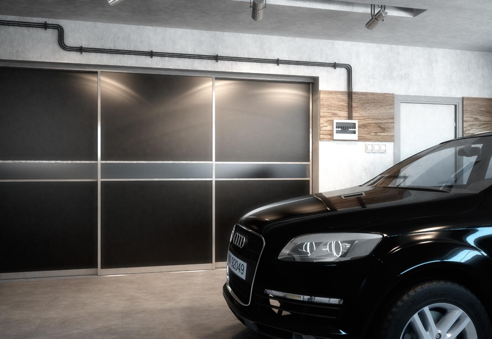 Duża szafa z drzwiami przesuwnymi w garażu samochodowym