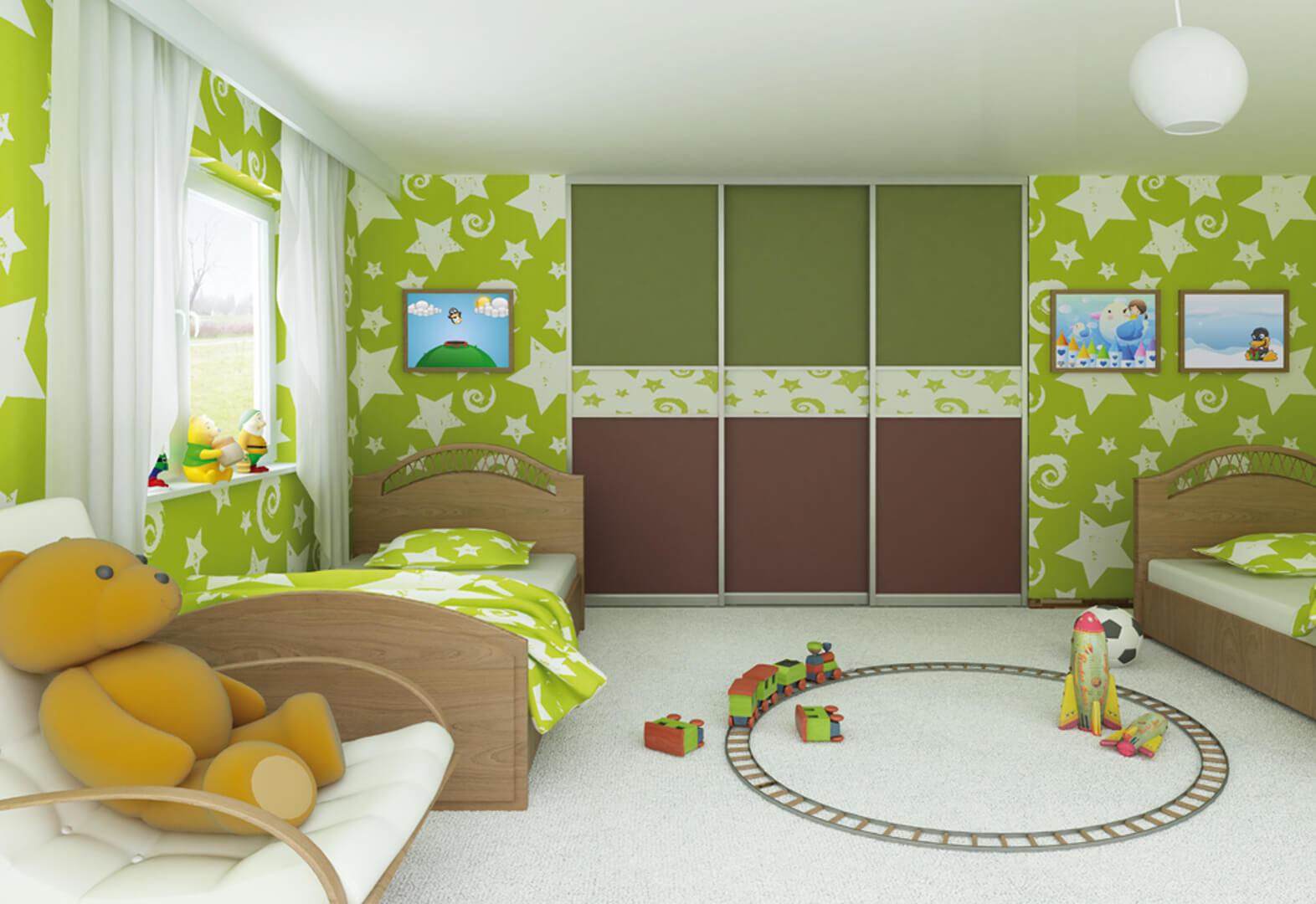 Zielono-brązowe drzwi przesuwne do pokoju dziecięcego