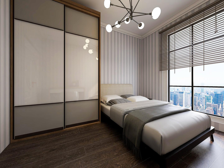 Dwudrzwiowa szafa z drzwiami przesuwnymi obok łózka w sypialni
