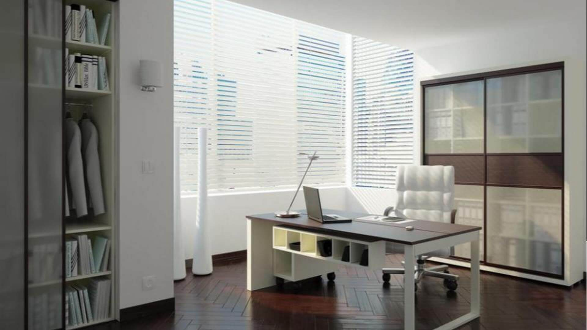 Klasyczna szafa do biura z drzwiami przesuwnymi w kolorze ciemnego drewna i lustrami