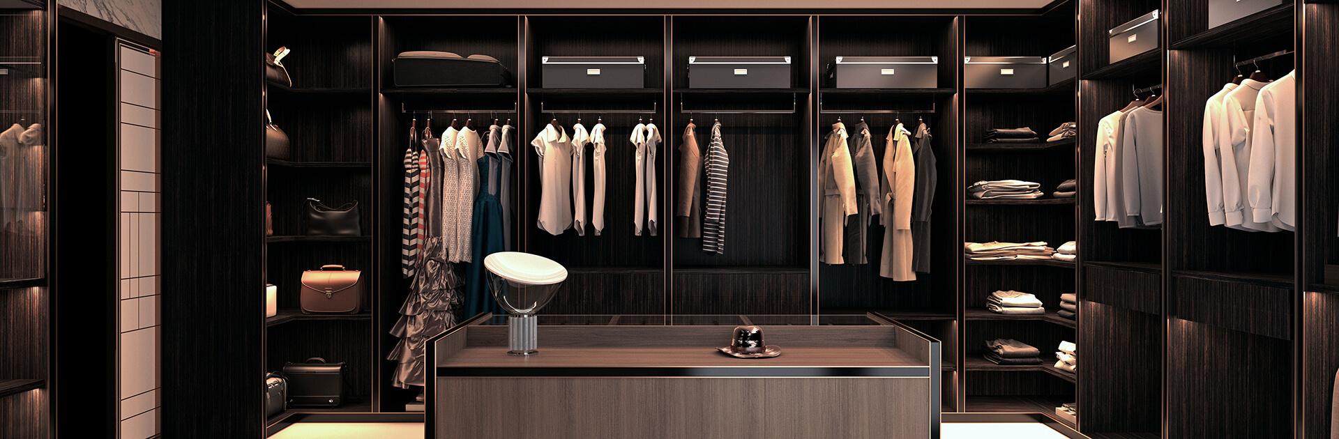Elegancka garderoba w ciemnych kolorach drewna