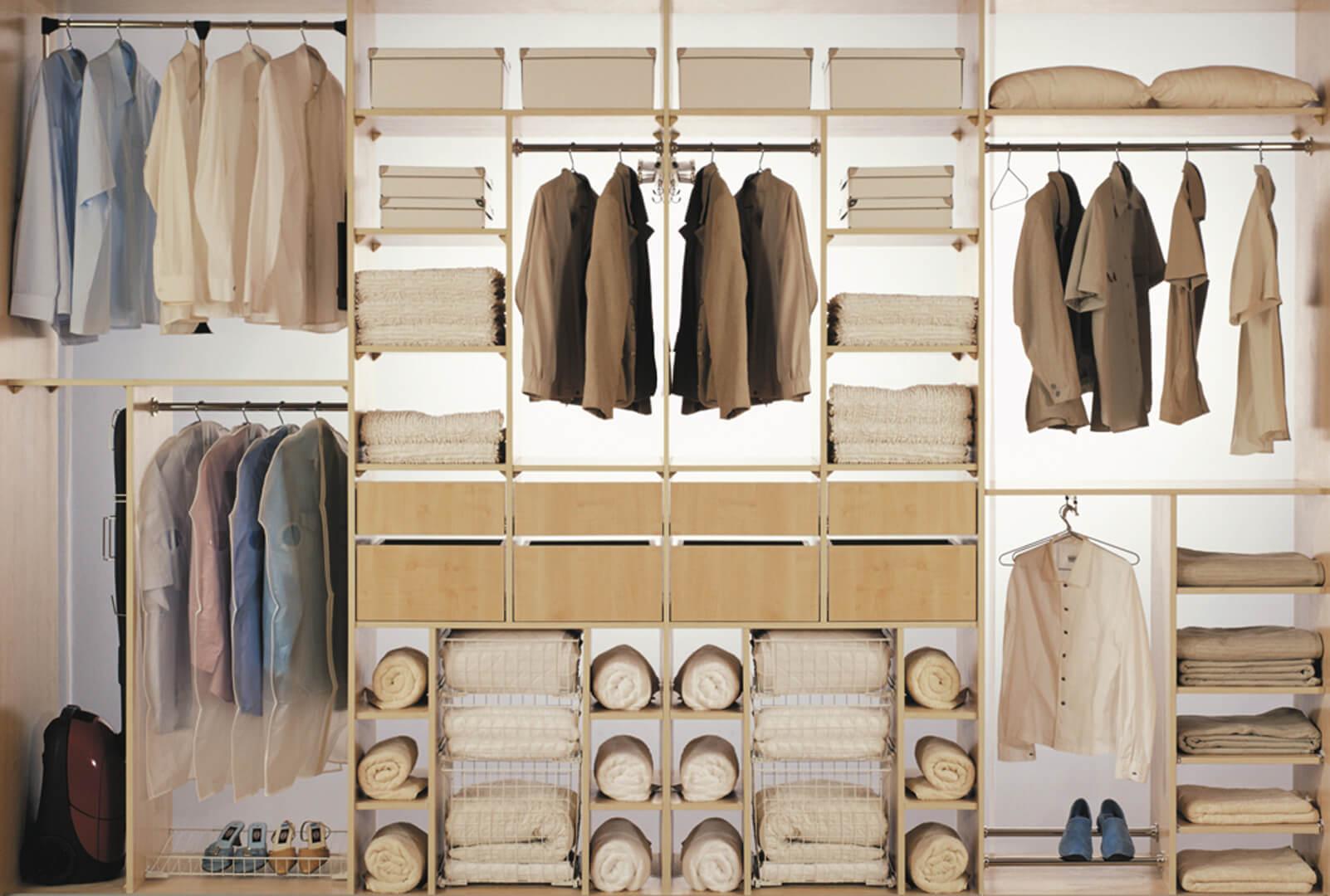 Projekt wnętrza szafy na wymiar indeco