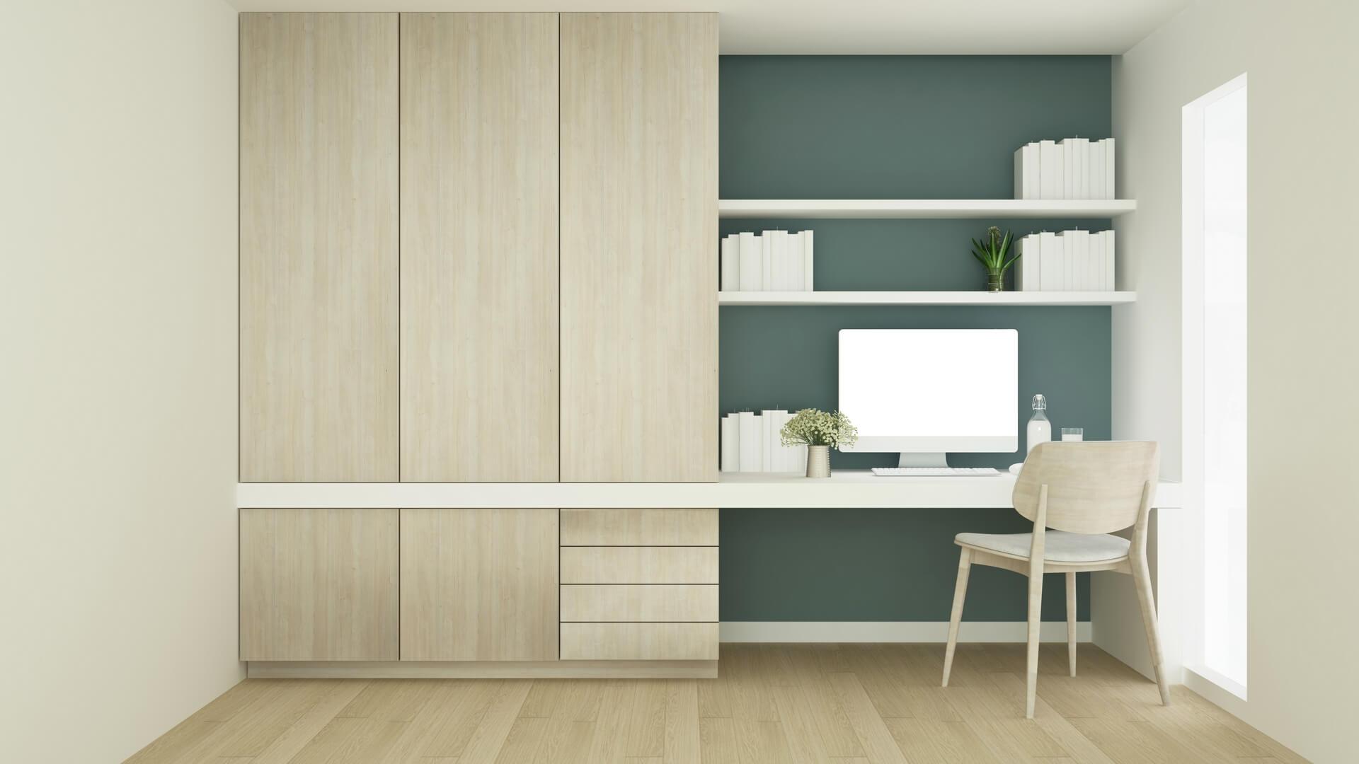 Wizualizacja jasnej drewnianej szafy do pokoju dziecięcego