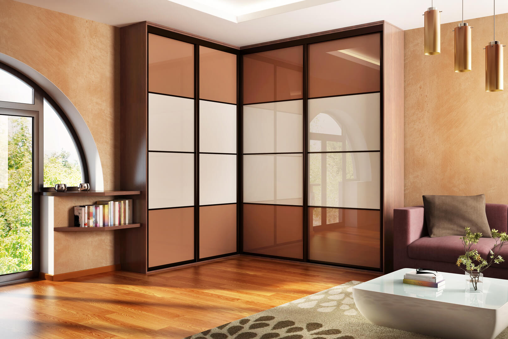 Szafa narożna z szklanymi białymi i brązowymi drzwiami przesuwnymi w salonie