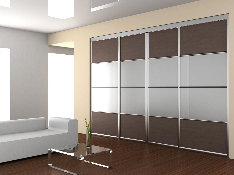 Projekt szafy na wymiar z drzwiami przesuwnymi w salonie