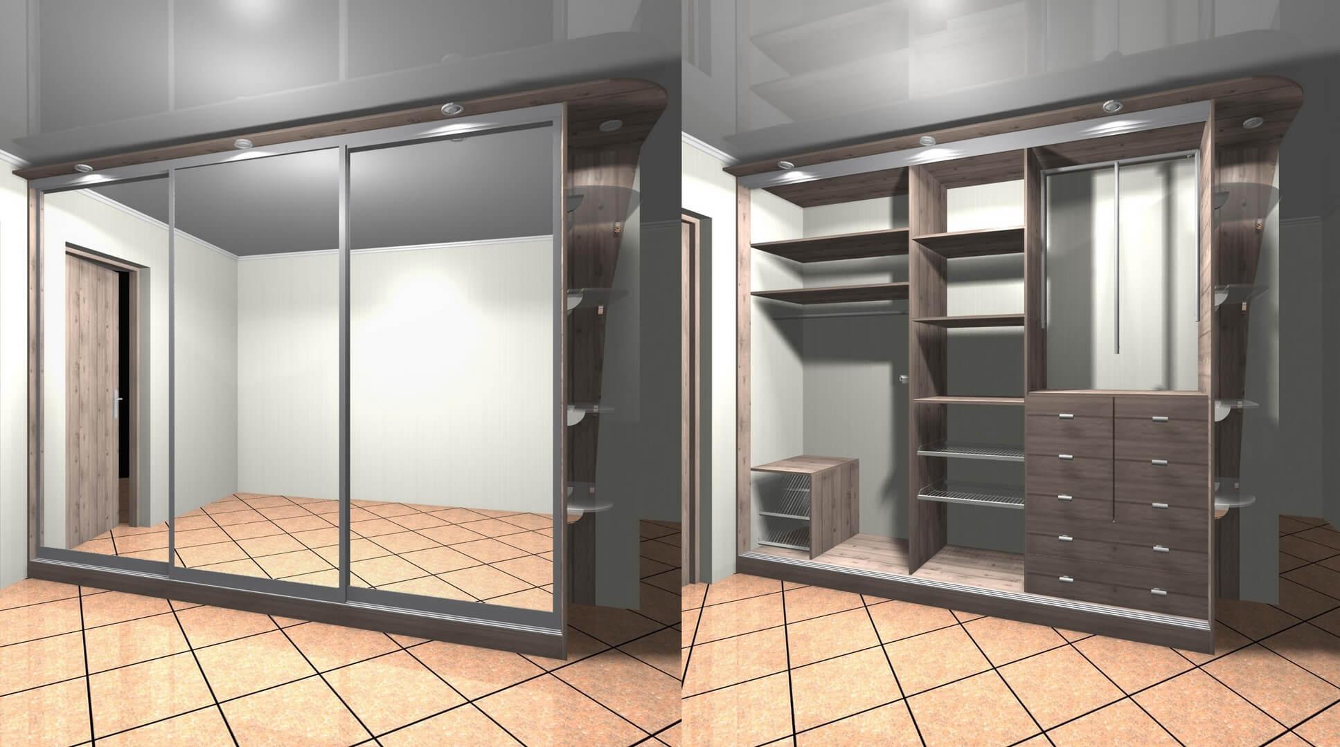 Projekt wnętrza i drzwi do szafy na wymiar do przedpokoju