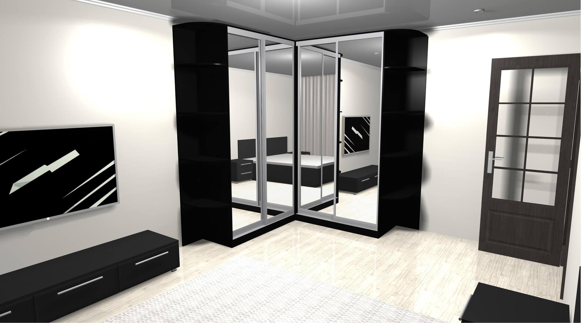 Szafa narożna z lustrami na drzwiach przesuwnych w pokoju
