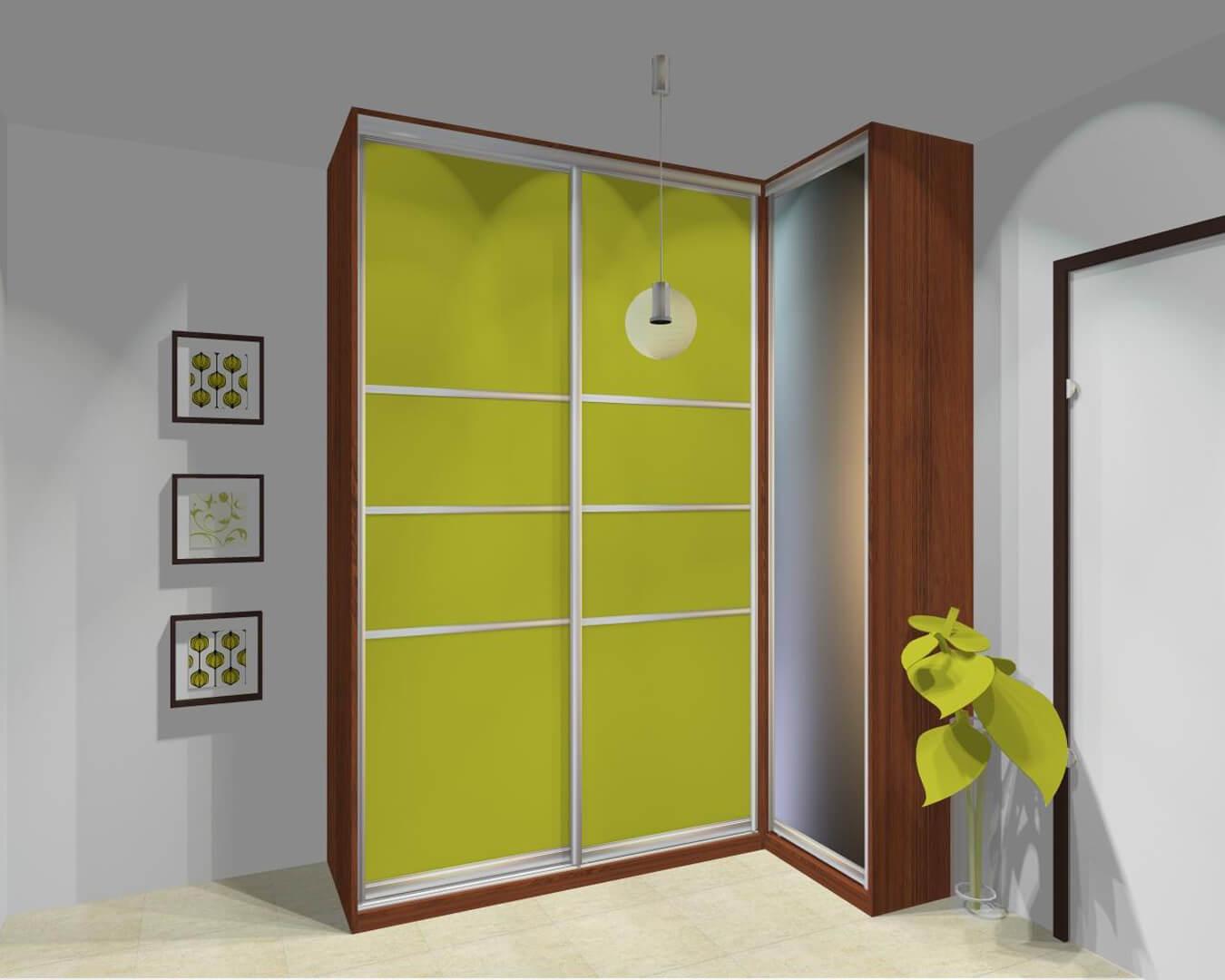 Projekt szafy narożnej z zielonymi drzwiami przesuwnymi w przedpokoju