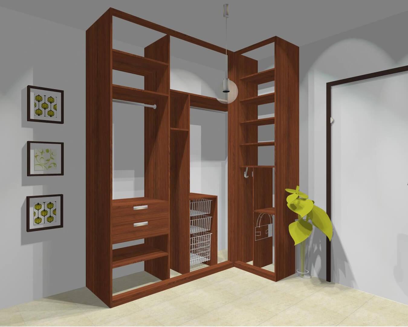 Projekt wnętrza narożnej szafy indeco